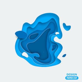 Abstrait 3d avec du papier bleu, formes coupées