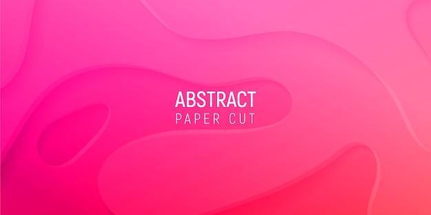 Abstrait 3d avec du papier rose coupe les vagues dégradées