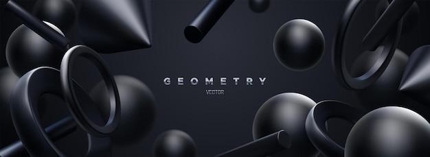 Abstrait 3d élégant Avec Des Formes Géométriques Noires Fluides Vecteur Premium