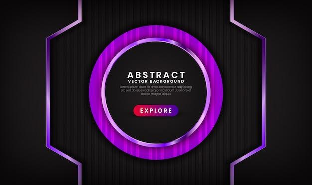 Abstrait 3d de luxe noir et violet avec effet brillant