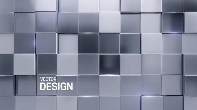 Abstrait 3d minimal avec des formes carrées aléatoires en mosaïque d'argent