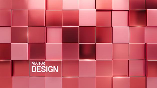 Abstrait 3d minimal avec des formes carrées aléatoires de mosaïque rose métallique