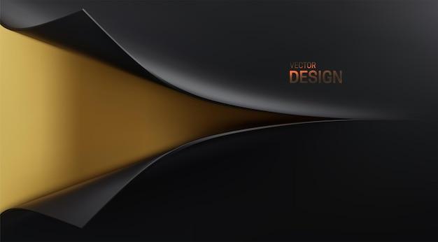 Abstrait 3d avec ouverture papier noir d'emballage et toile de fond dorée