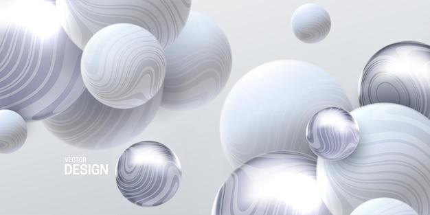 Abstrait 3d avec des sphères fluides blanches et argentées marbrées