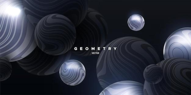 Abstrait 3d avec des sphères rebondissantes noires et argentées marbrées
