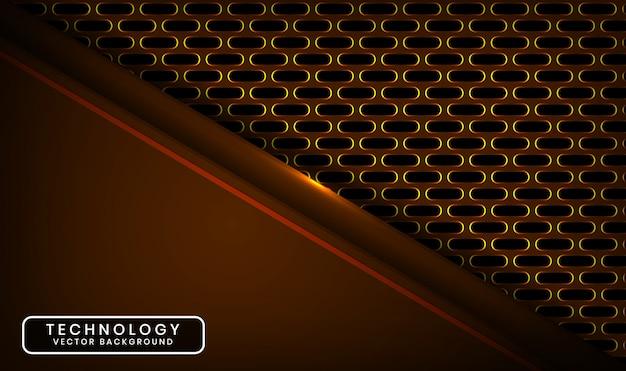 Abstrait 3d technologie sombre avec ovale métallique, couche de chevauchement avec décoration effet de lumière jaune