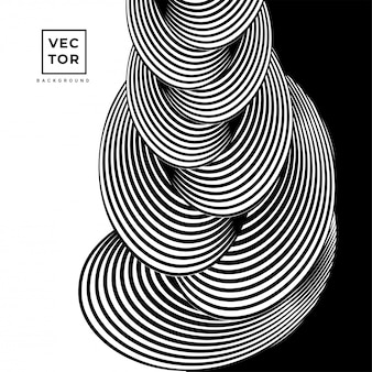 Abstrait abstrait circulaire noir et blanc motif design.