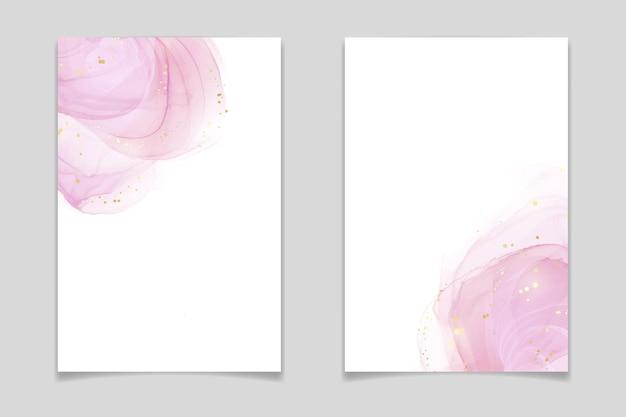 Abstrait aquarelle liquide blush rose avec des points et des taches dorés