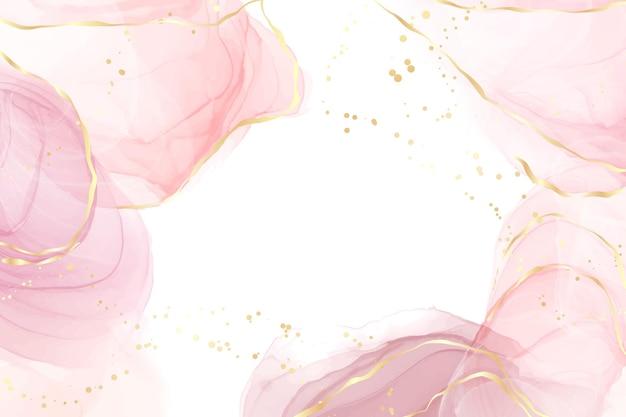 Abstrait aquarelle liquide blush rose avec des points et des taches de lignes dorées