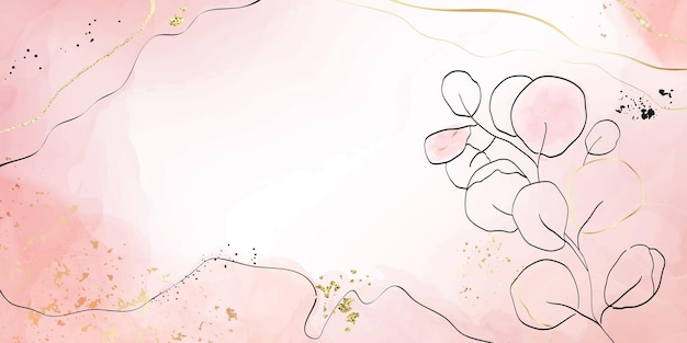 Abstrait aquarelle liquide fard à joues poussiéreux avec des éléments floraux or