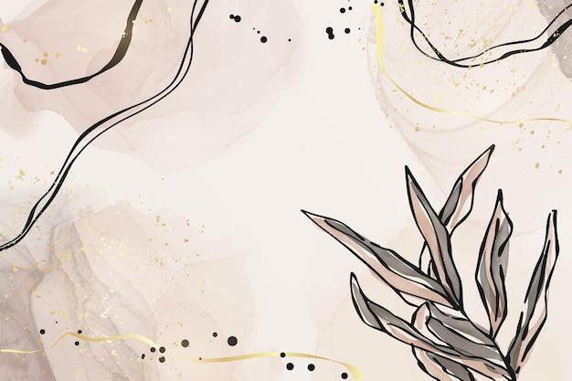 Abstrait aquarelle liquide rose et gris poussiéreux avec des éléments de branche et de feuille d'or