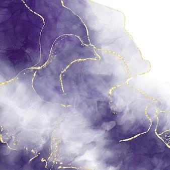 Abstrait aquarelle liquide violet avec des craquelins dorés.
