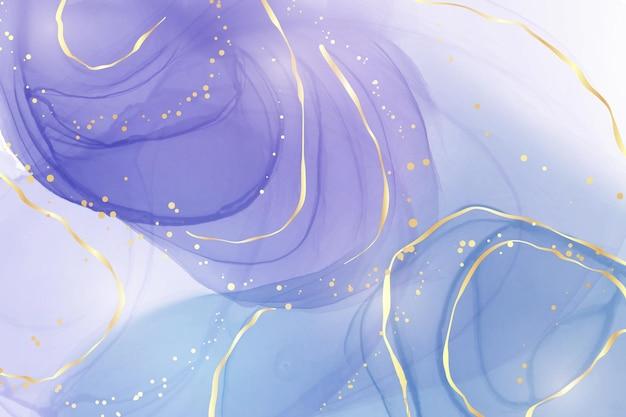 Abstrait aquarelle liquide violet avec tache dorée et lignes
