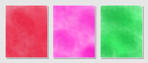 Abstrait aquarelles rouges, roses et vertes.