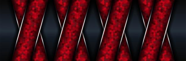 Abstrait argent métallique rouge et noir avec rayon lumineux et ligne brillante.