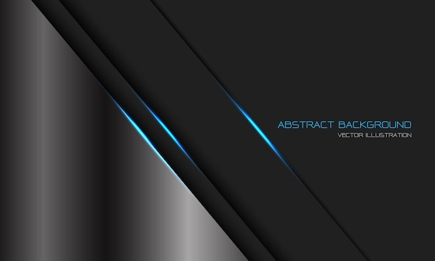 Abstrait argenté gris foncé métallique ligne de lumière bleue slash avec espace vide design fond de technologie futuriste de luxe moderne