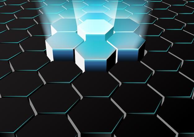 Abstrait arrière-plan hexagonal avec des lumières bleues