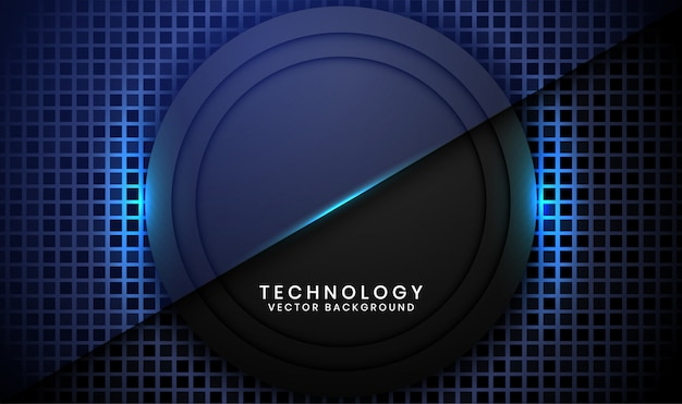 Abstrait arrière-plan de la technologie du cercle noir 3d avec des textures carrées aléatoires, des couches de chevauchement avec une décoration à effet de lumière bleue