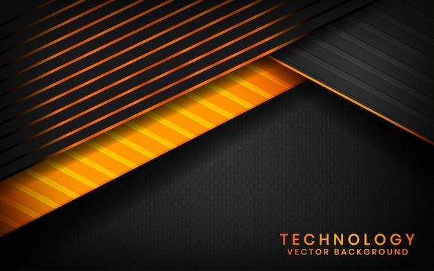 Abstrait arrière-plan de la technologie noire 3d couches de chevauchement sur un espace sombre avec une décoration à effet de lumière orange