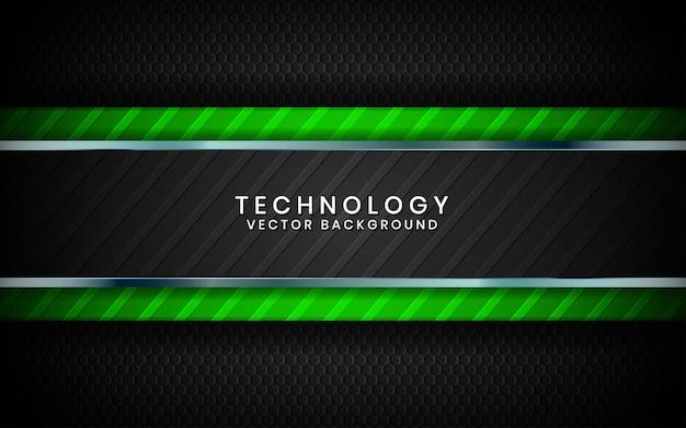 Abstrait arrière-plan de la technologie noire 3d couches de chevauchement sur un espace sombre avec une décoration effet de lumière verte
