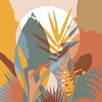 Abstrait art floral tropical coloré