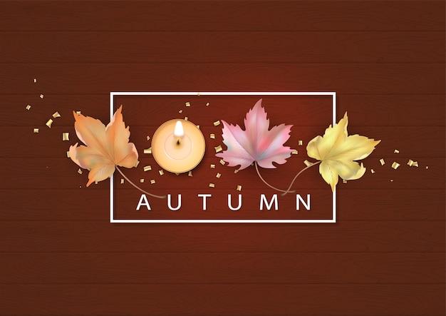 Abstrait automne avec des feuilles d'érable tombées et des bougies. illustration de l'automne sur fond de bois