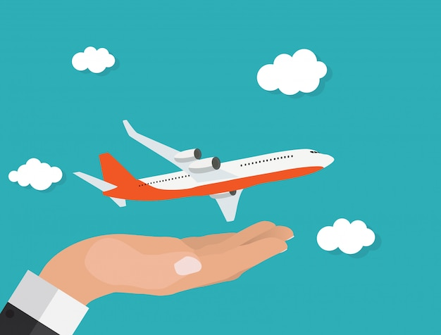 Abstrait avion avec main vector illustration