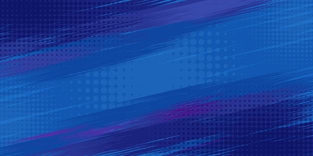 Abstrait bande dessinée rétro à rayures bleues avec coins en demi-teintes fond turquoise de dessin animé