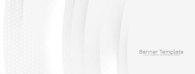 Abstrait bannière blanche avec des lignes ondulées brillantes