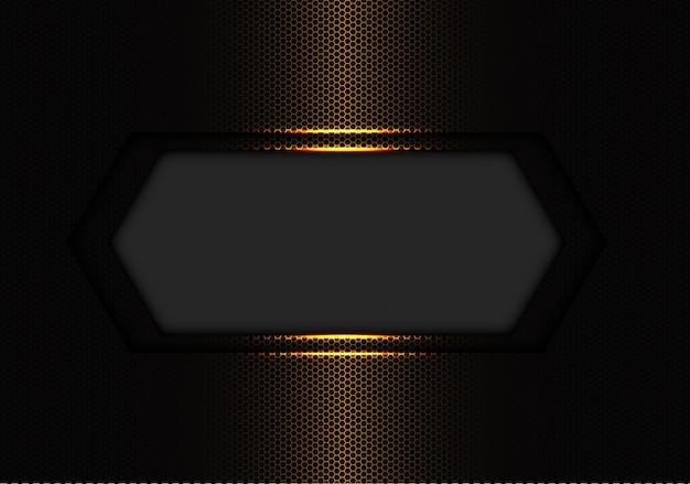 Abstrait bannière gris foncé maille hexagone or espace vide.