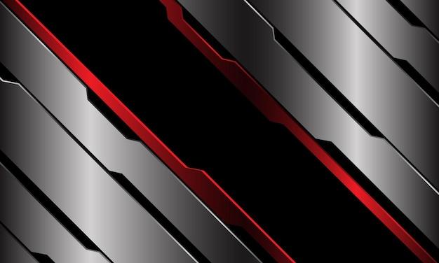 Abstrait bannière rouge noir circuit métallique bleu ligne cyber slash géométrique design fond de technologie futuriste luxe moderne