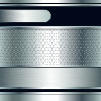 Abstrait, bannières métalliques argentées. illustration
