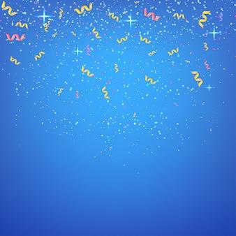 Abstrait bleu avec des banderoles et des confettis