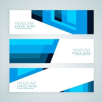 Abstrait bleu bannières géométriques