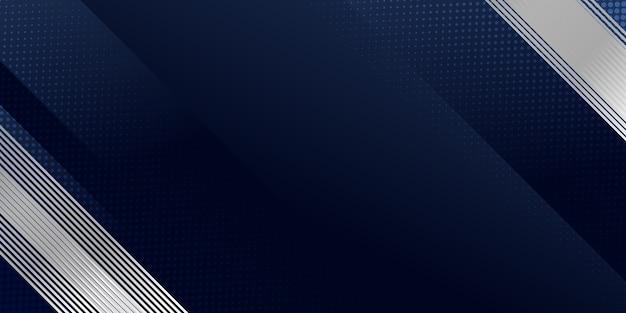 Abstrait bleu foncé avec décoration moderne de rayures de ligne argentée.