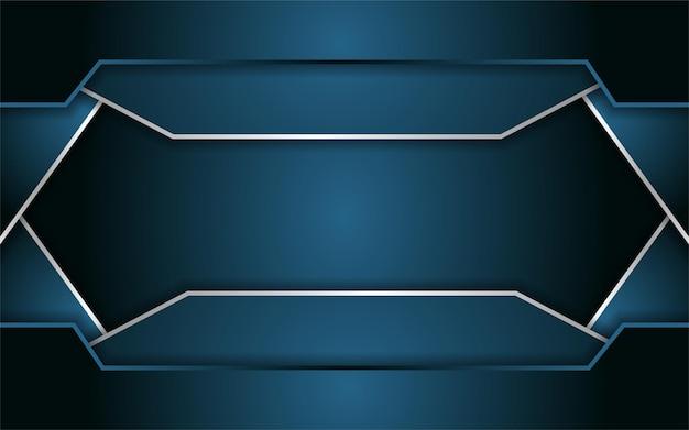 Abstrait Bleu Foncé Avec Ligne Métallique Vecteur Premium