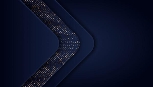 Abstrait bleu foncé avec des lignes dorées et des points