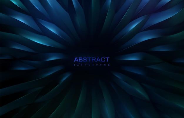 Abstrait bleu irisé avec motif de formes à échelle organique radiale