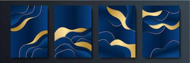 Abstrait bleu avec des lignes d'or