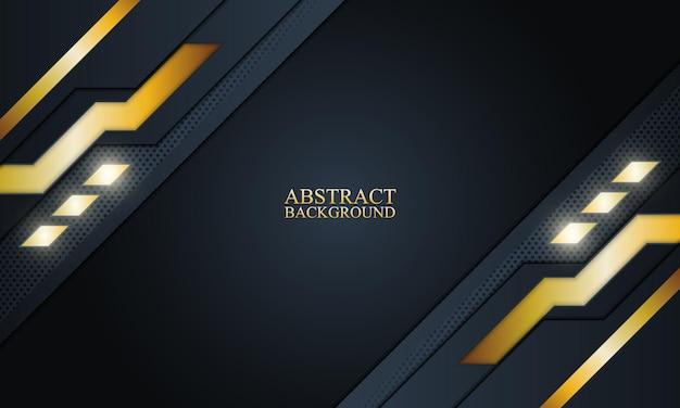 Abstrait bleu marine et technologie dorée illustration vectorielle