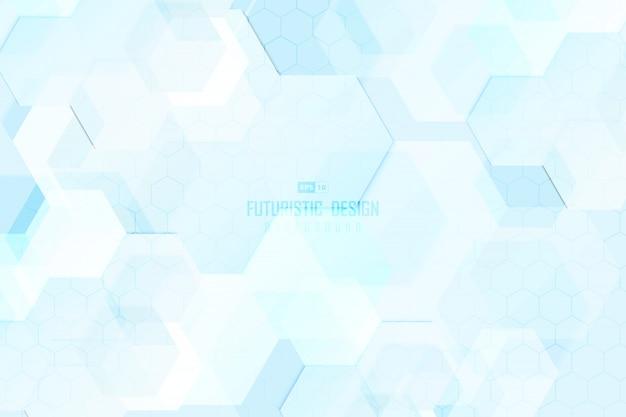 Abstrait bleu motif hexagonal de fond d'illustration de conception de technologie.