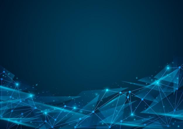 Abstrait bleu numérique. ligne de réseau maillé 3d, structure, sphère, point et structure.