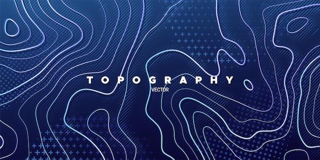 Abstrait bleu avec relief de topographie