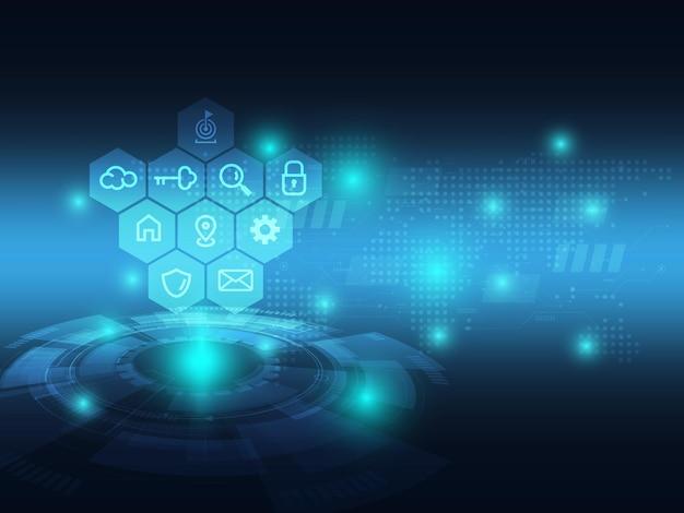 Abstrait bleu technologie futuriste avec l'icône de l'entreprise