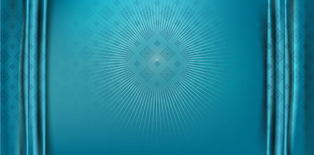 Abstrait bleu texturé art de ligne fond de style thaïlandais