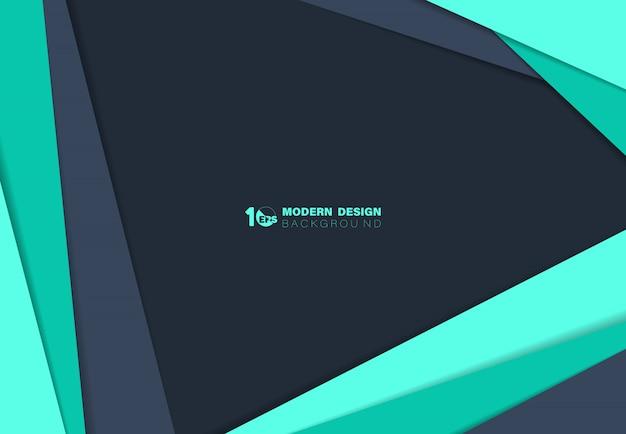 Abstrait bleu et vert sur papier lap coupé avec fond de modèle d'ombre.