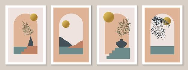 Abstrait boho fond avec arch paysage mer montagnes soleil doré art du milieu du siècle