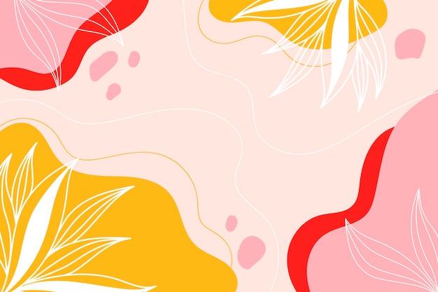 Abstrait botanique moderne avec des feuilles blanches, des couleurs roses et jaunes.