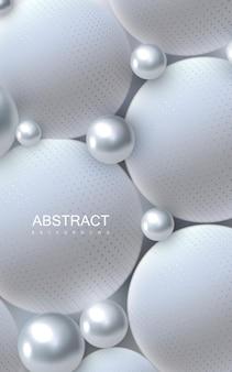 Abstrait avec des boules blanches et argentées