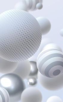 Abstrait avec des bulles ou des boules rebondissantes argent et blanc